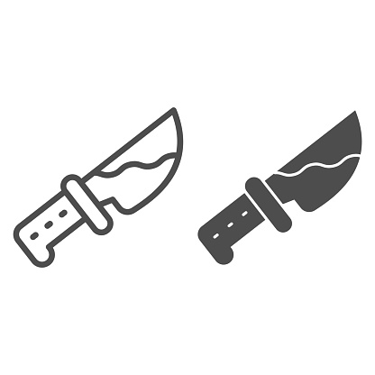 Bloody knife line and solid icon, halloween concept, killer blade sign on white background, weapons with blood icon in outline style for mobile concept and web design. Vector graphics.