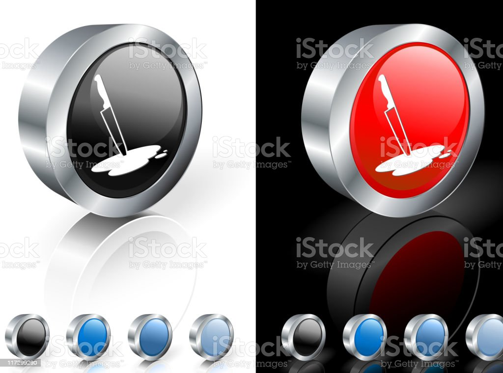 Bloody knife on 3D button royalty-free bloody knife on 3d button stock vector art & more images of black background