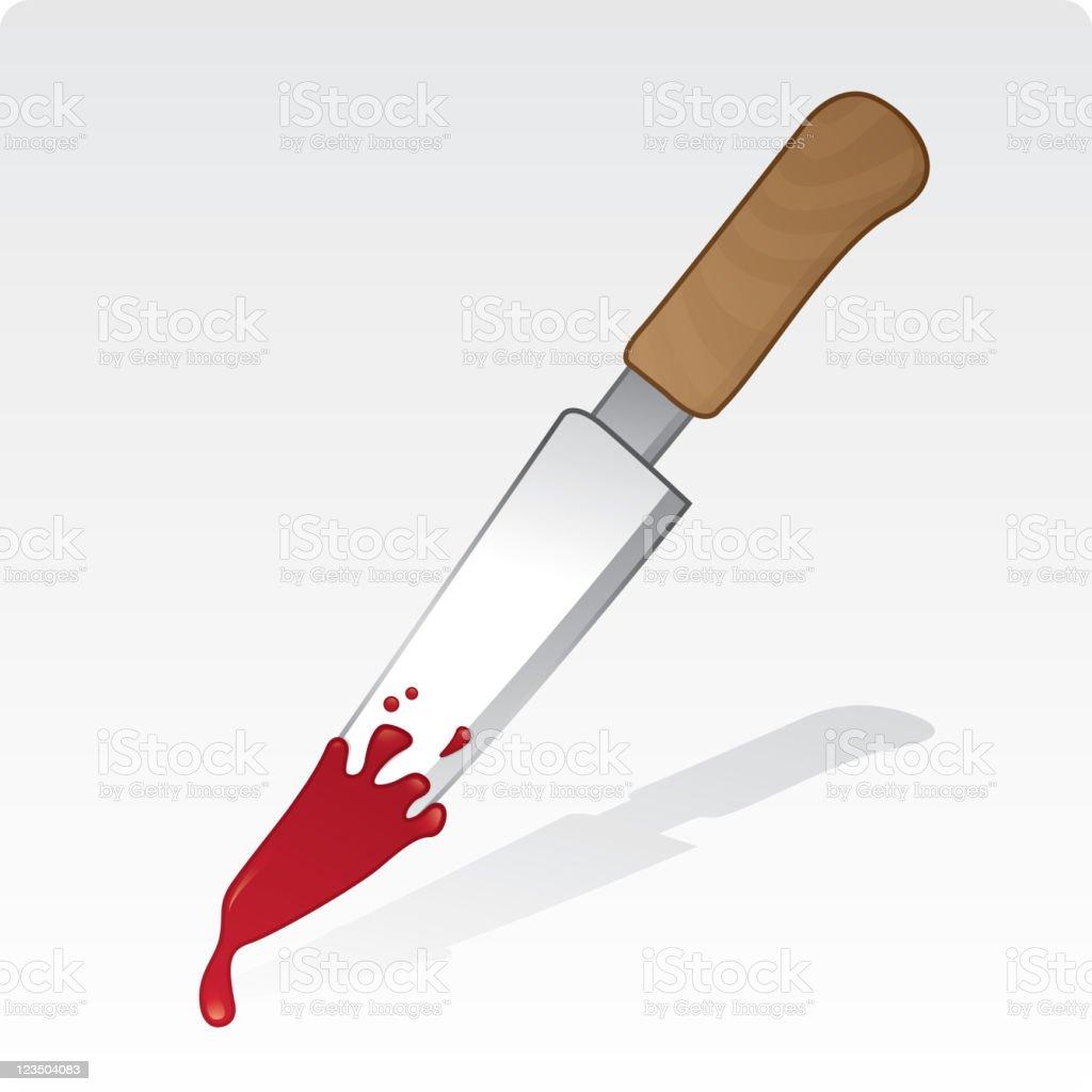 Bloody knife vector art illustration