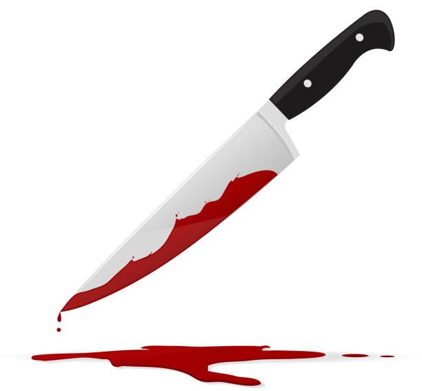 stockillustraties, clipart, cartoons en iconen met bloody knife - keukenmes