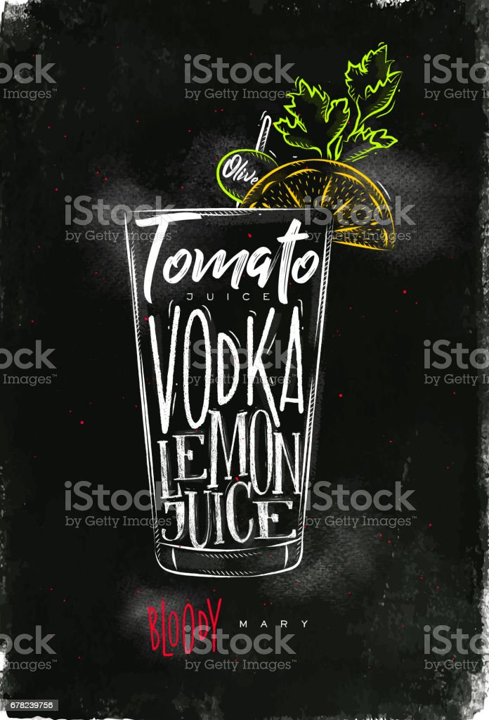Bloody mary cocktail chalk color vector art illustration