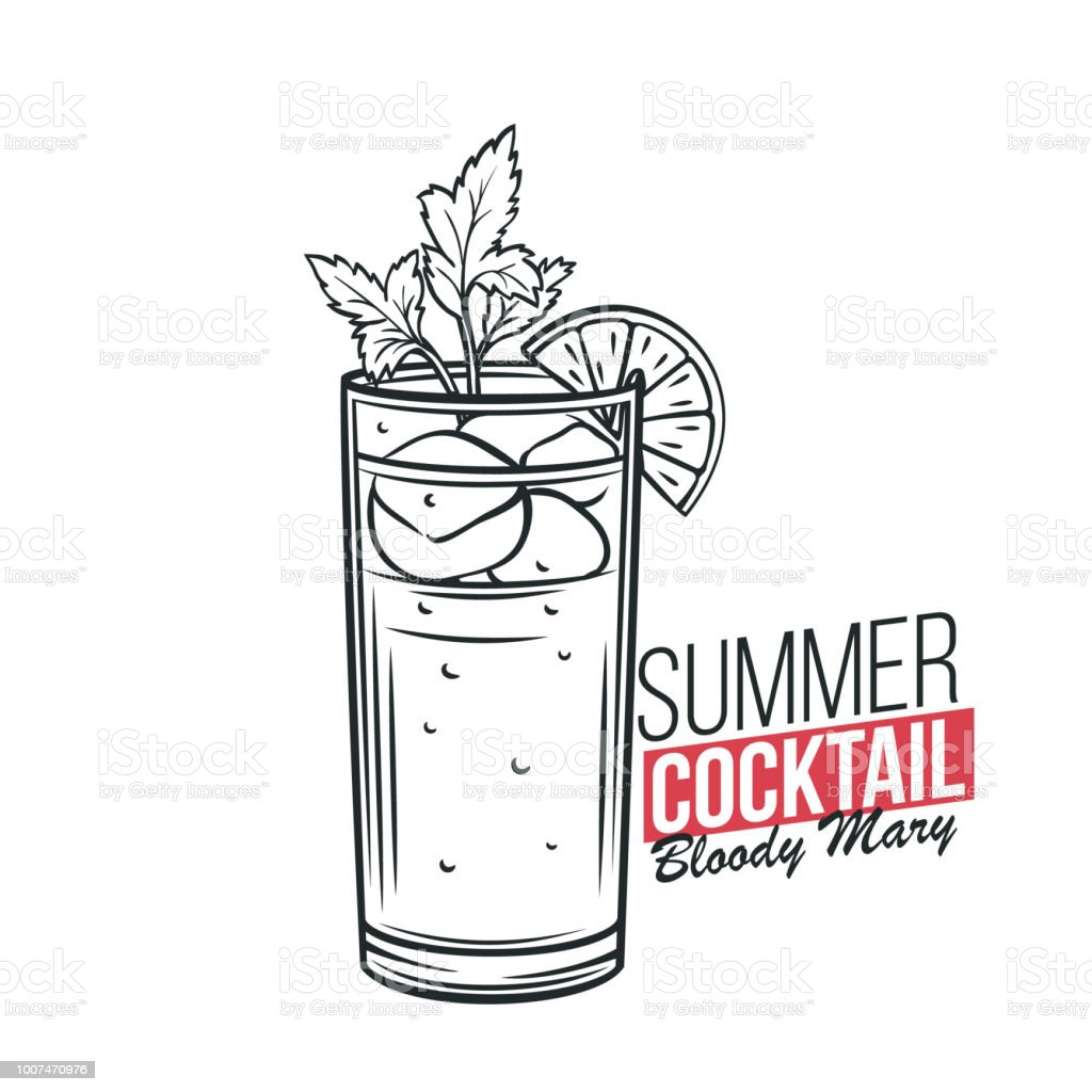 Bloody Mary Cocktail vector art illustration