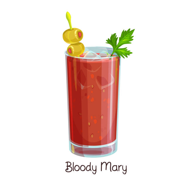 bloody mary cocktail - vegetable blood stock illustrations, clip art, cartoons, & icons