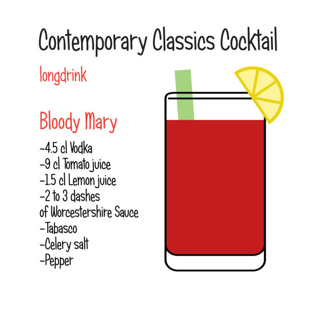 bloody mary vector contemporary classic cocktail recipe - vegetable blood stock illustrations, clip art, cartoons, & icons
