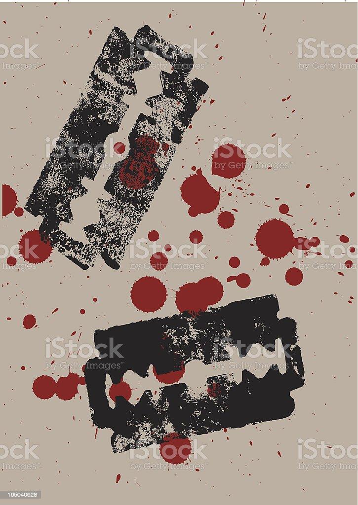 bloody razors vector art illustration