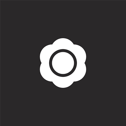 bloom icon. Filled bloom icon for website design and mobile, app development. bloom icon from filled hippies collection isolated on black background.