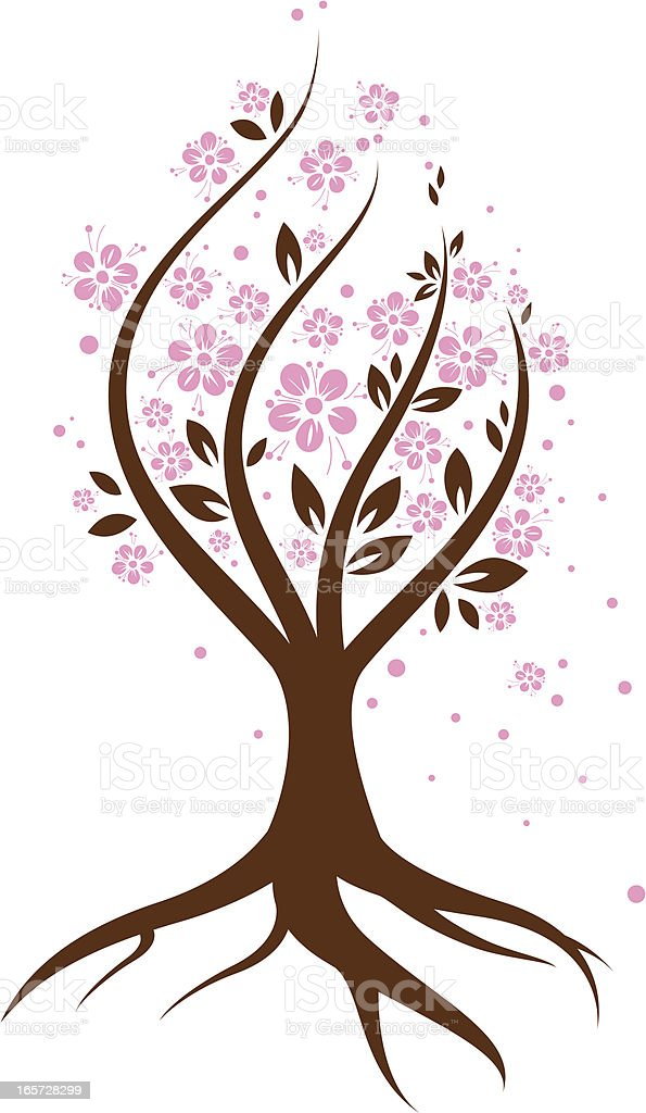 Blooming Abstract Cherry Tree royalty-free stock vector art