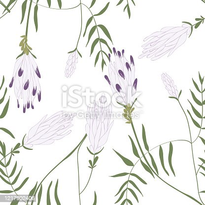Blooming beautiful floral seamless pattern. Blossom botanical motifs scattered random. Trendy colorful vector texture. Fashion, ditsy print, fabric. Hand drawn wild meadow flowers on white background