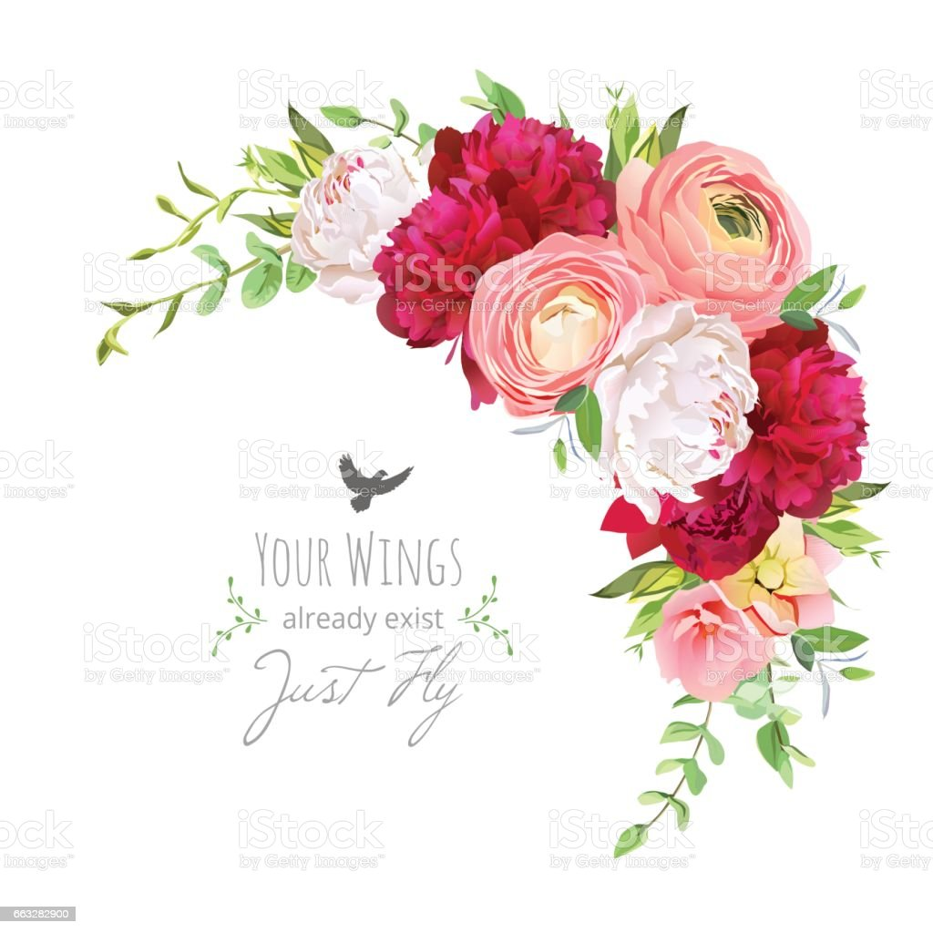 blooming bouquet floral vector frame with ranunculus peony ros stock vector art more images of. Black Bedroom Furniture Sets. Home Design Ideas