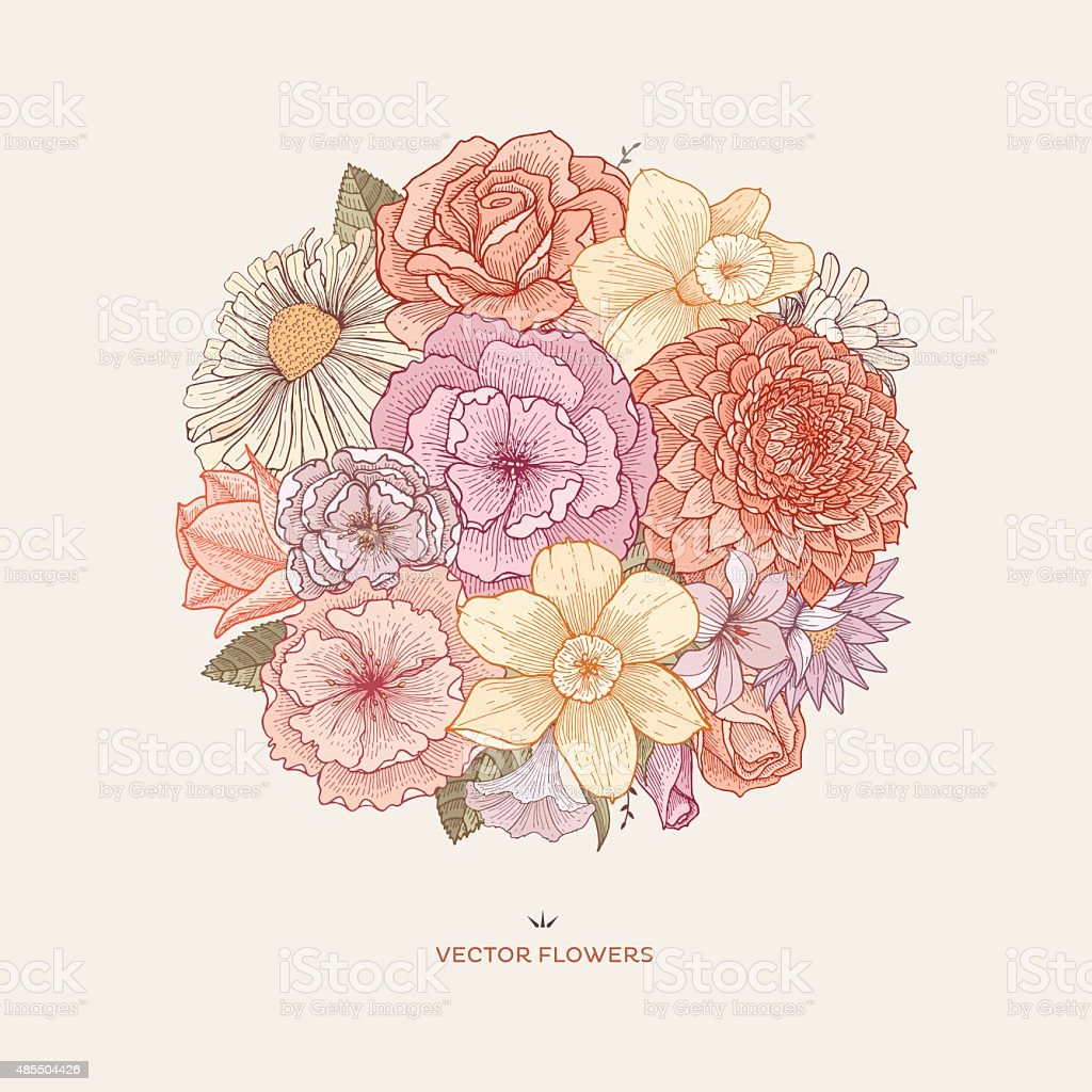 Blooming bouquet vector art illustration