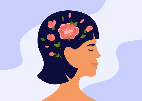 Blooming brain of young woman