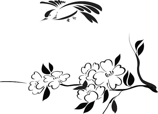 Blooming branch and bird vector art illustration