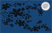 Illustration of a blooming branch at night with a bright shining moon. There are three layers: