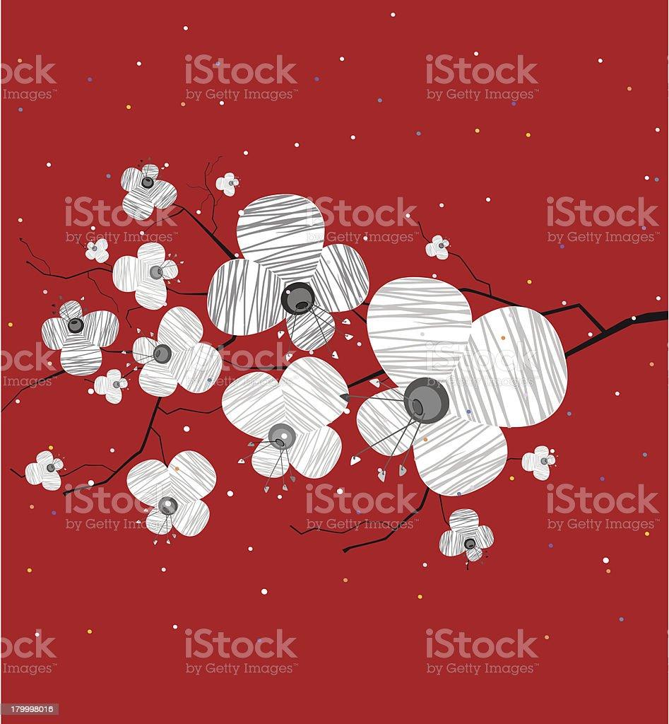 개화 지점 빨간색 배경기술 royalty-free 개화 지점 빨간색 배경기술 꽃 나무에 대한 스톡 벡터 아트 및 기타 이미지