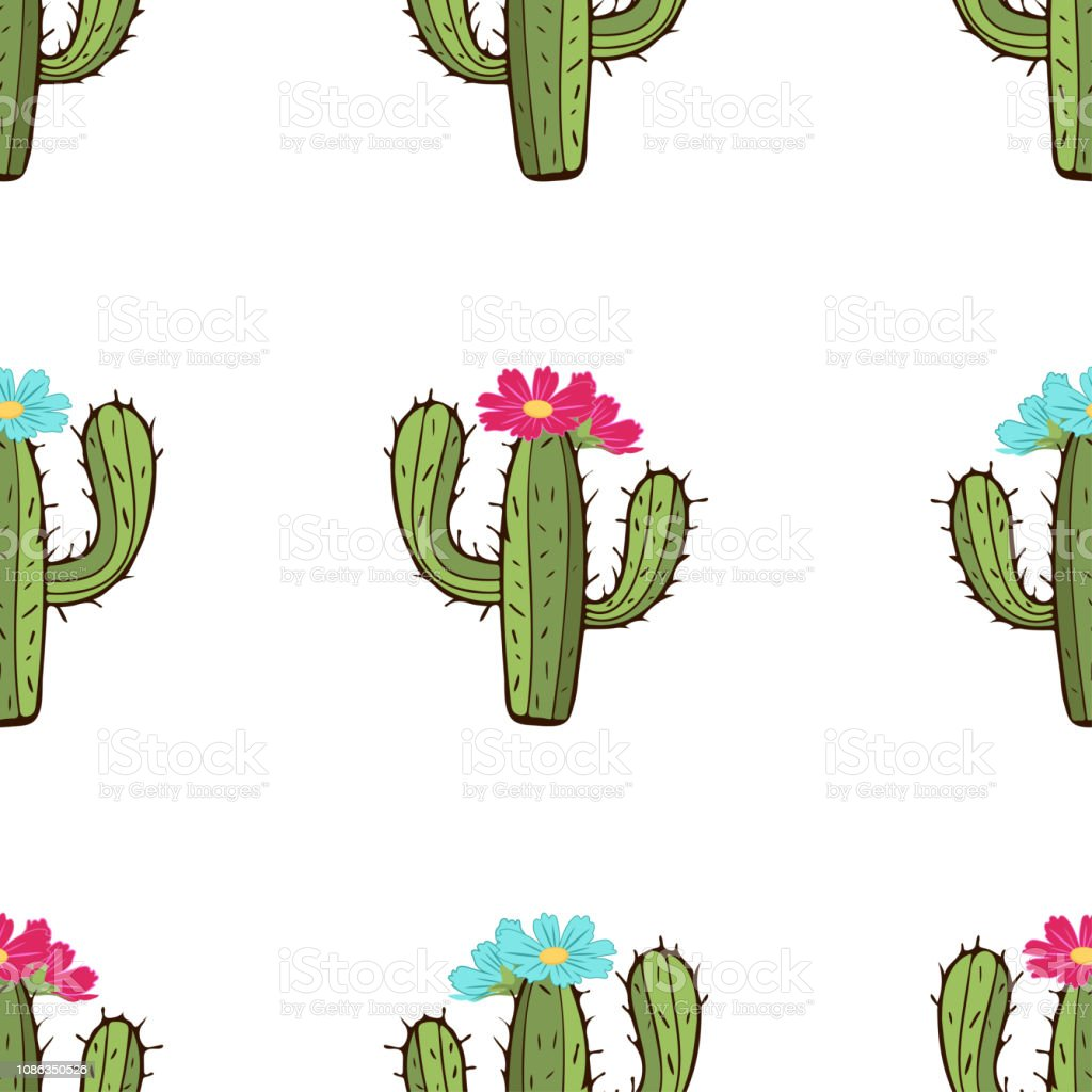 Blooming cactus seamless pattern hand drawing vector illustration painted green peyote with spikes and pink and blue flower buds on white background