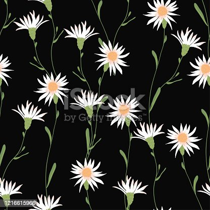 Blooming floral seamless pattern. Blossom botanical motifs scattered random. Trendy colorful vector texture. Fashion, ditsy print, fabric. Hand drawn beautiful wild meadow flowers on black background
