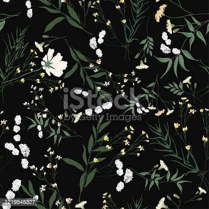 Blooming floral seamless pattern. Blossom botanical motifs scattered random. Trendy colorful vector texture. Fashion, fabric, ditsy print. Hand drawn different wild meadow flowers on black background