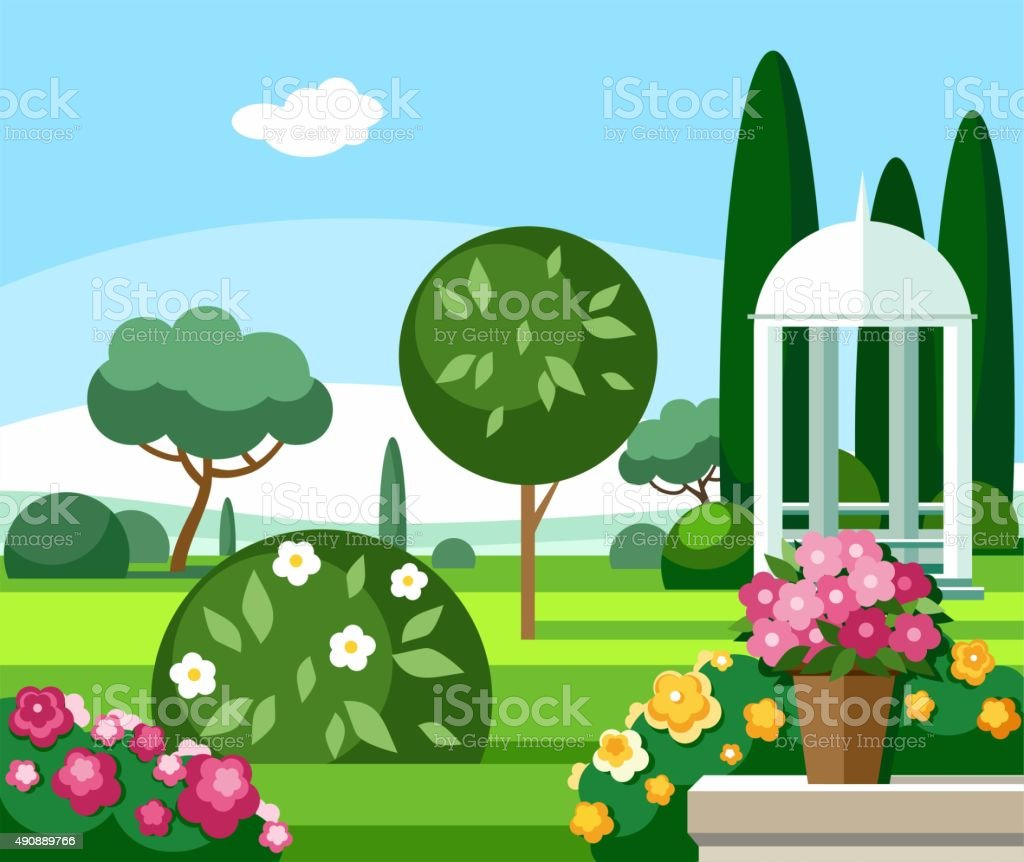 Blooming garden with a white gazebo, coloured illustrations. vector art illustration