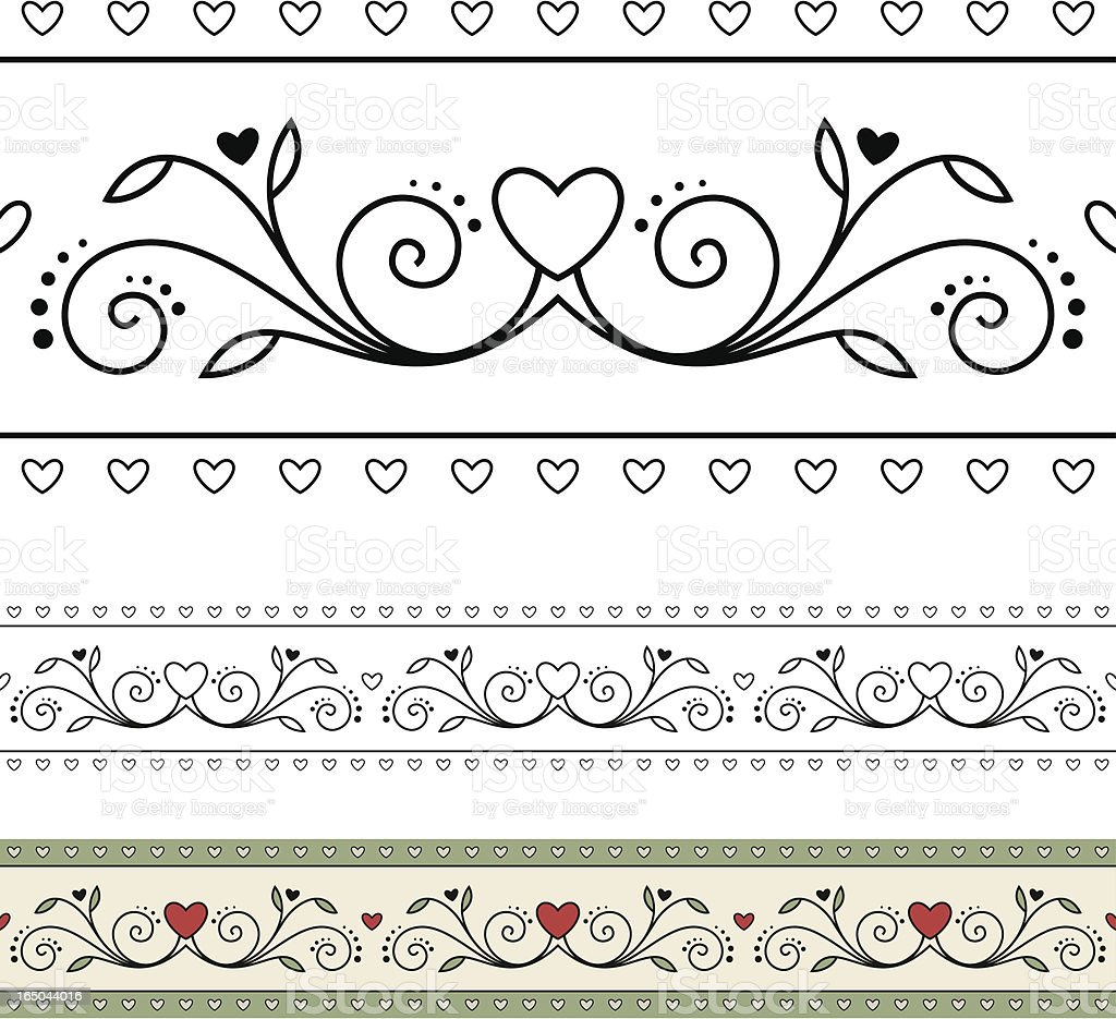 Blooming Heart Border Pattern royalty-free stock vector art