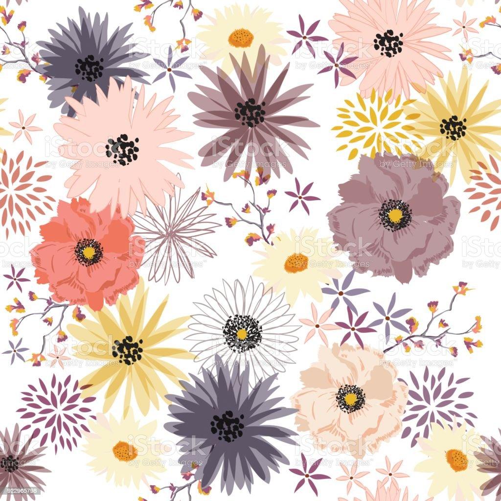 リバティ花柄シームレスに咲く優しい花で中規模の流行ですテキスタイル