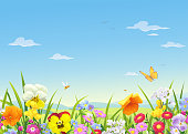 Beautiful blooming meadow flowers, bees and butterflies in spring or summer. In the background is a landscape with hills and a bright blue sky with clouds. Vector illustration with space for text.