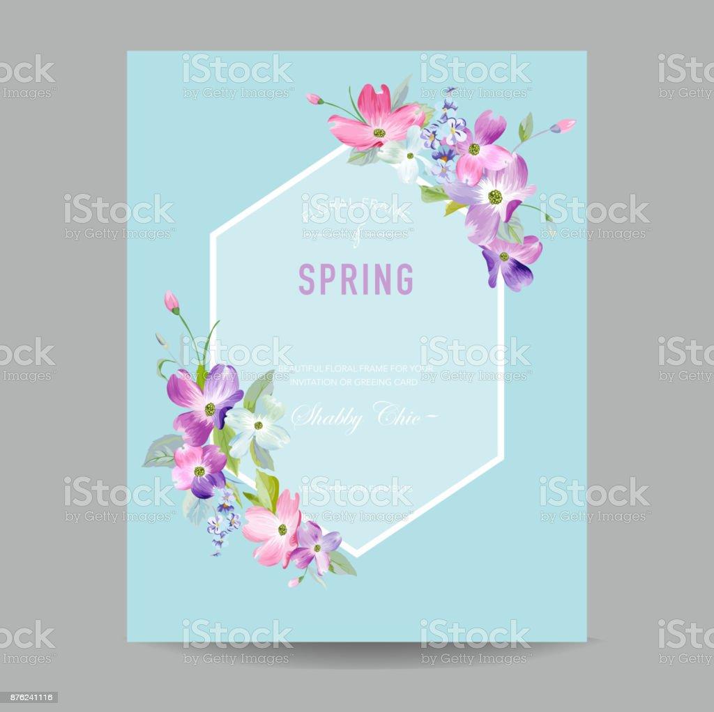 Ilustración de Marco Floral De Flor De Primavera Y Verano Flores ...