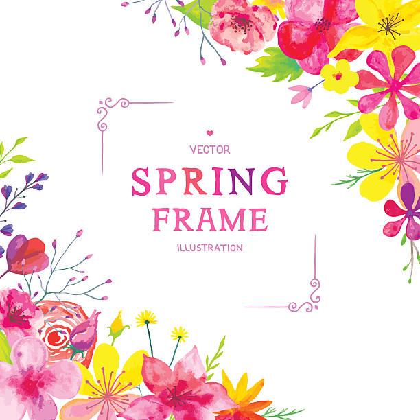 Blooming Spring Corners vector art illustration