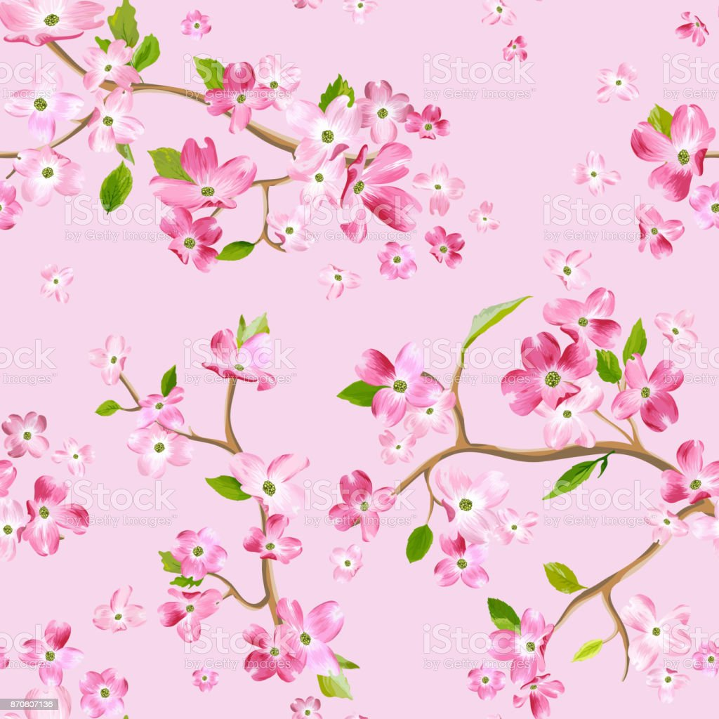 Blooming Spring Flowers Pattern Background Seamless Fashion Print In ...