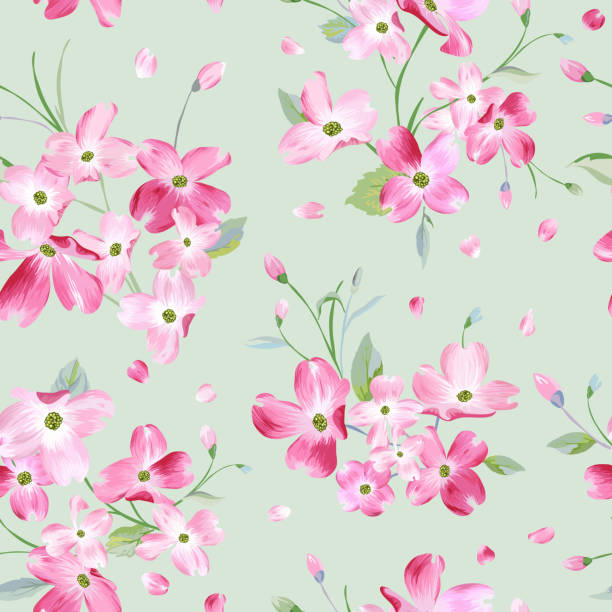 blooming spring flowers pattern background. seamless fashion print in vector - spring fashion stock illustrations, clip art, cartoons, & icons