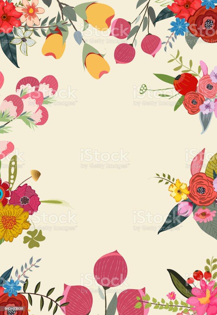 Ilustración de Floración Primavera Marco Diseño Del Fondo y más ...
