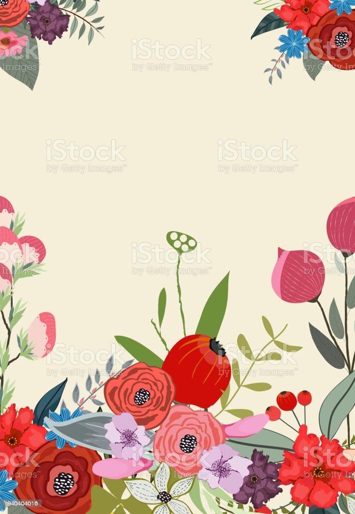 Floración Primavera Marco Diseño Del Fondo - Arte vectorial de stock ...