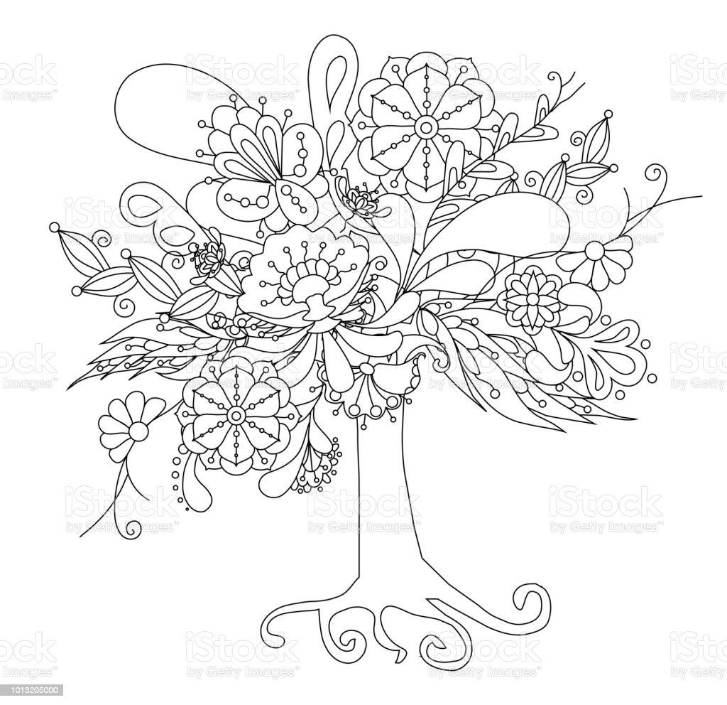 Ilustración De Flor Doodle De árbol Para Colorear Libro Y Más