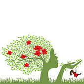 Blooming tree with female face holding swing for little girl, vector graphic design element