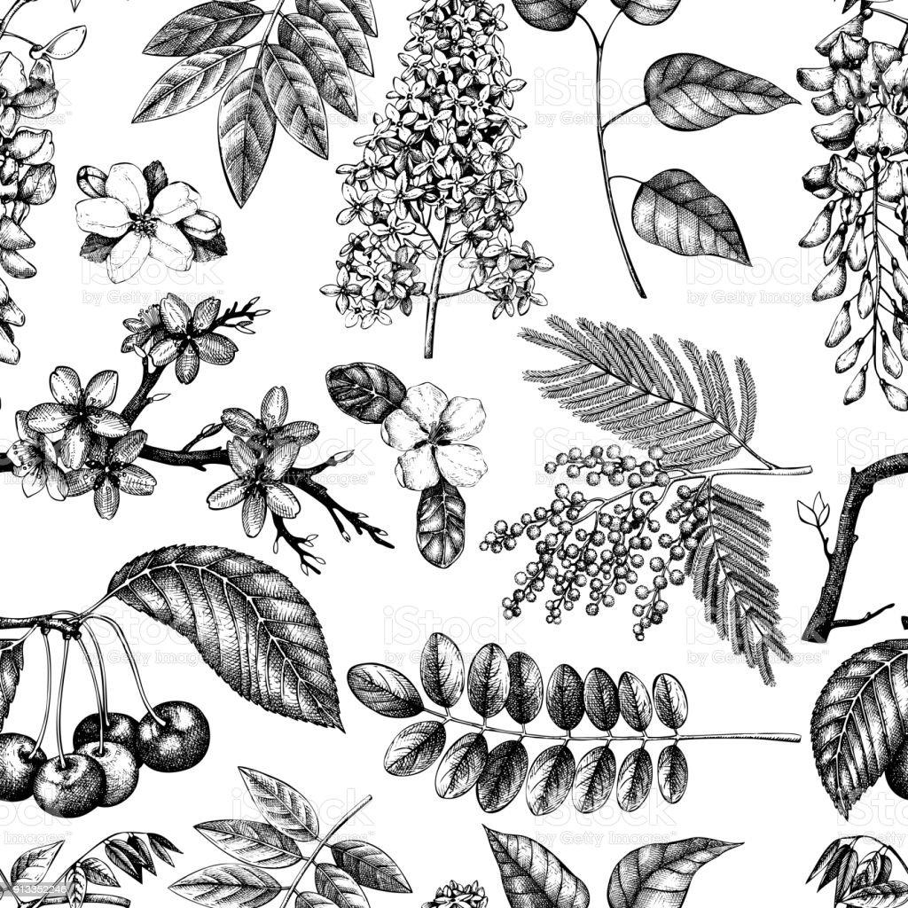 blooming trees pattern_2 vector art illustration
