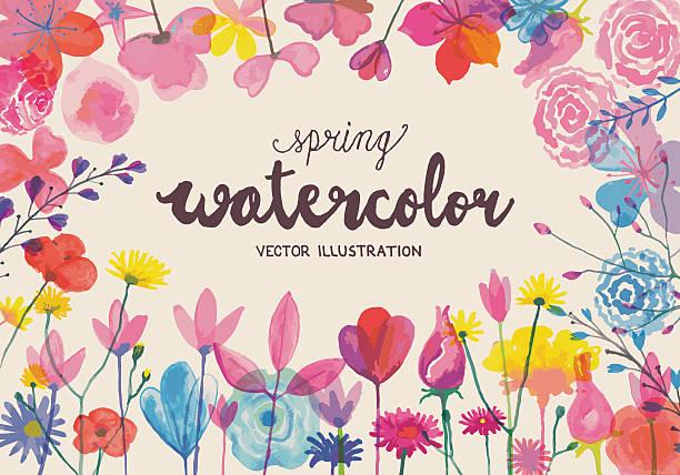"blühende ""watercolors"" - rosenpflanzen stock-grafiken, -clipart, -cartoons und -symbole"