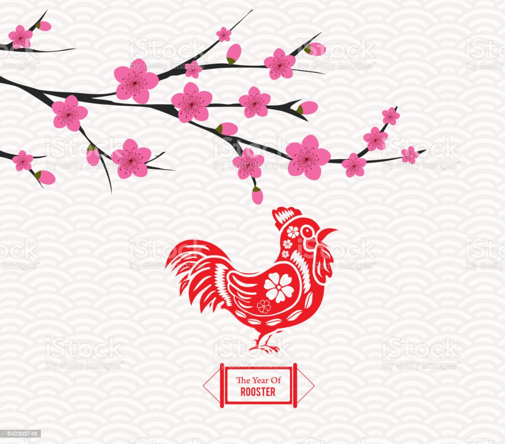 Blossom Chinese New Year Rooster And Background Royalty Free