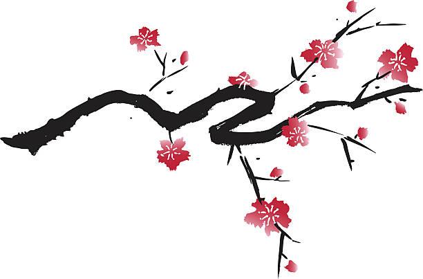 Blossom Design Vector Illustration in Asian Style plum blossom stock illustrations