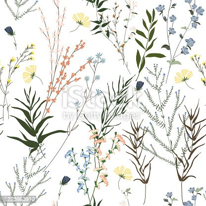 istock Blossom floral seamless pattern. Blooming botanical motifs scattered random. Trendy colorful vector texture. Fashion, ditsy print, fabric. Hand drawn different wild meadow flowers on white background 1223663910