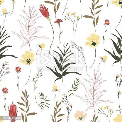 Blossom floral seamless pattern. Trendy colorful vector texture. Blooming botanical motifs scattered random. Good for fashion. Ditsy print. Hand drawn different wild meadow flowers on white background