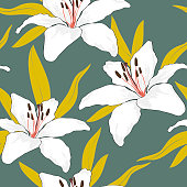 Blossom floral seamless pattern. White lily flowers with leaves scattered random. Trendy abstract color vector texture. Good for fashion prints, fabric, design. Hand drawn flowers on grey background