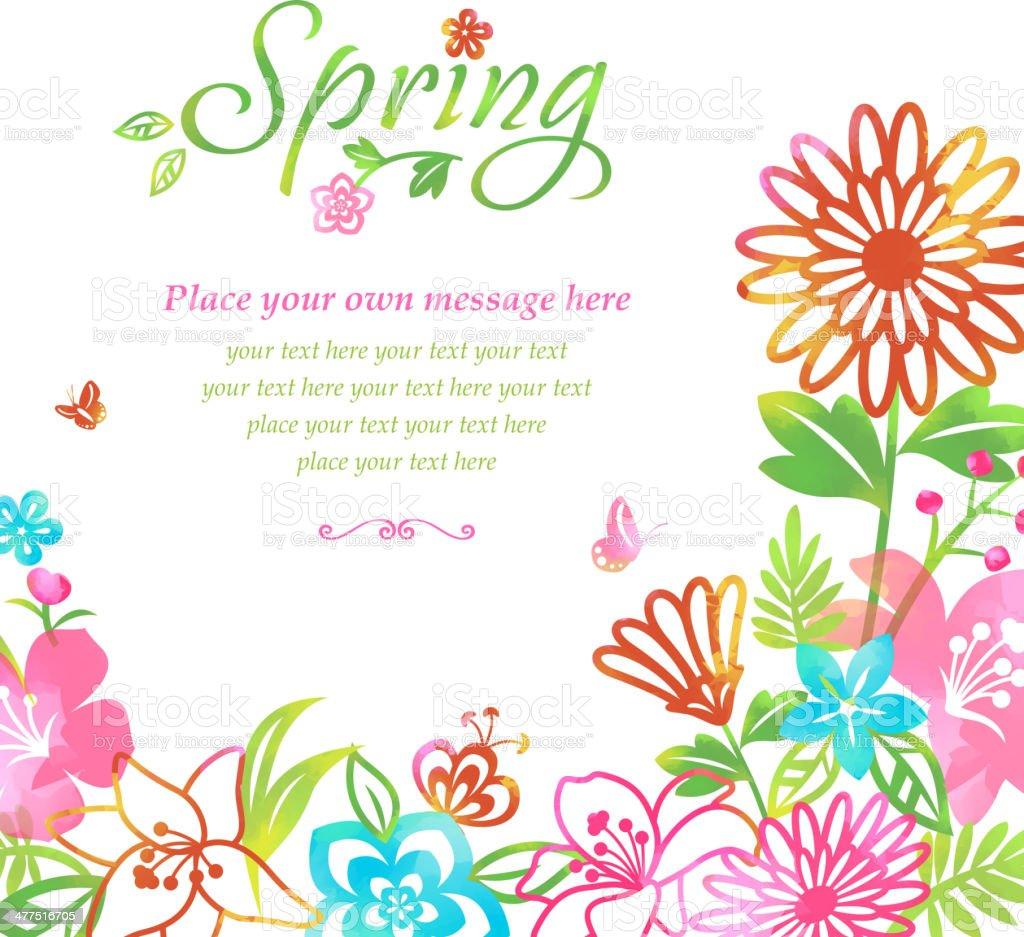 Blossom into Spring Flowers Frame Background vector art illustration