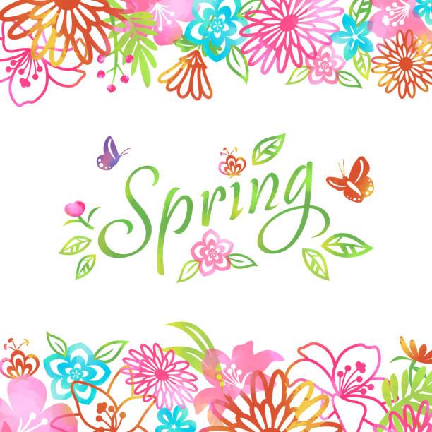 illustrazioni stock, clip art, cartoni animati e icone di tendenza di blossom in primavera sfondo fiori frame - farfalla ramo