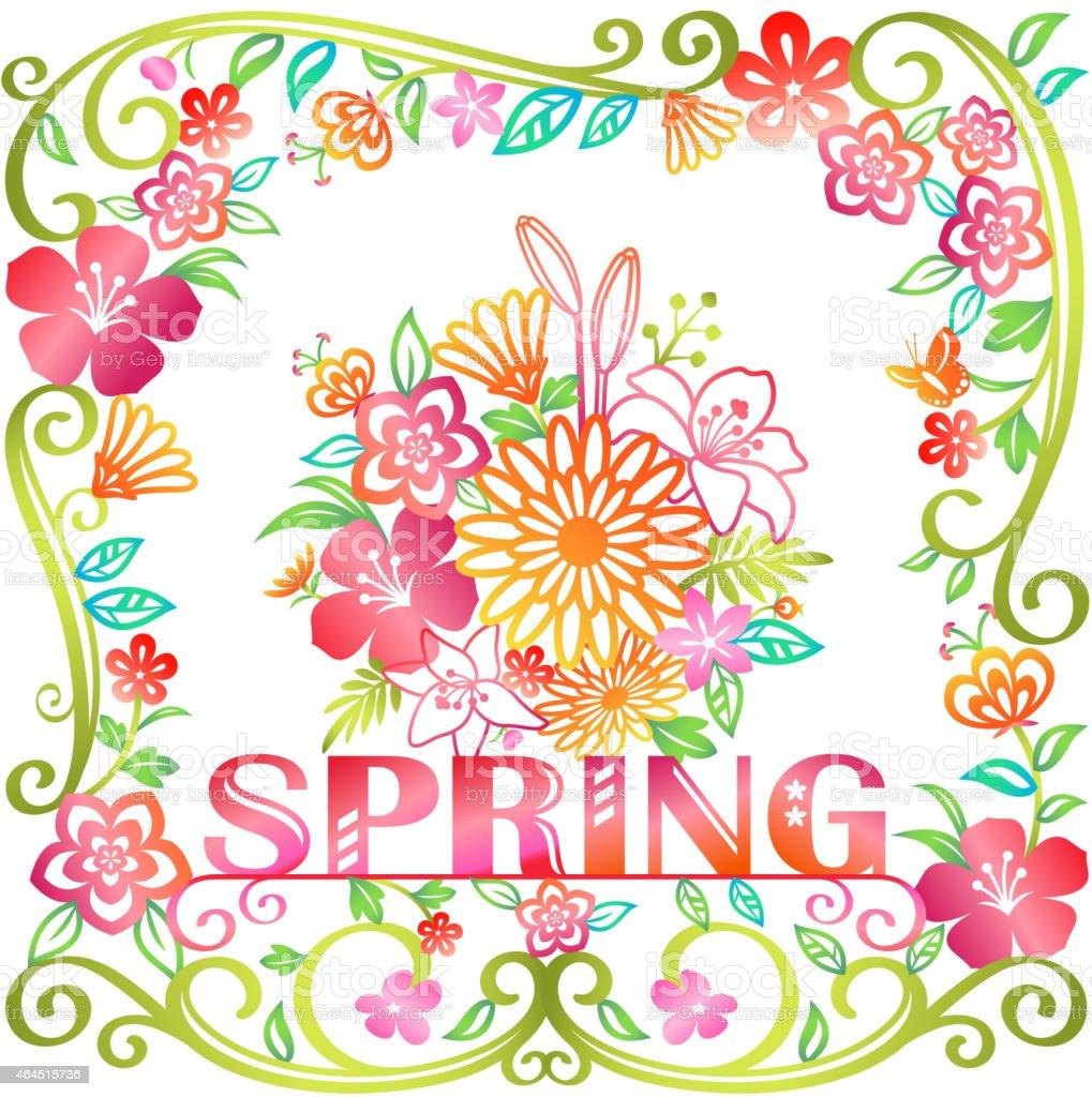 花と春の花フレーム のイラスト素材 464515736 | istock
