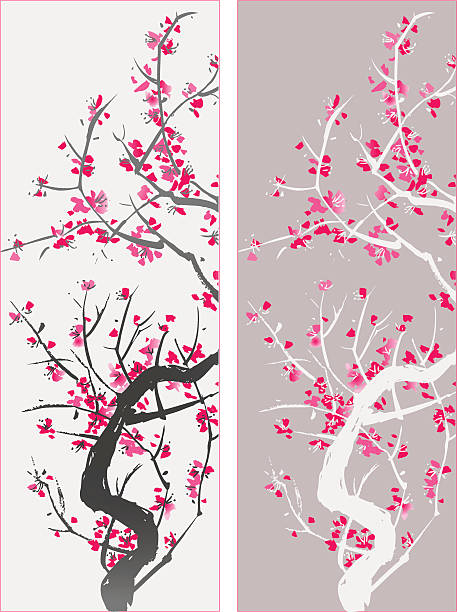 Blossom - love and happiness Blossom symbolise love and happiness, vectorized painting peach blossom stock illustrations