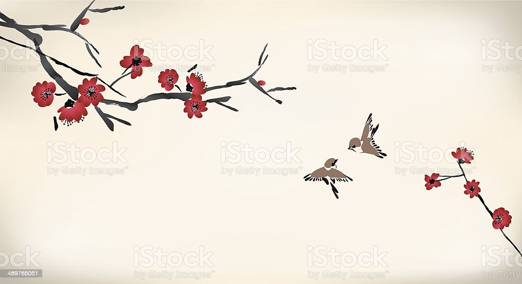 blossom painting vector art illustration