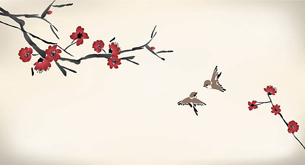 blossom painting blossom painting bird backgrounds stock illustrations