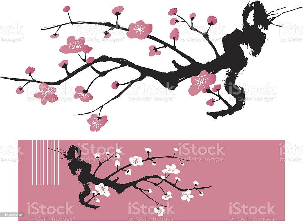 Blossom Tree - Oriental Style Painting vector art illustration