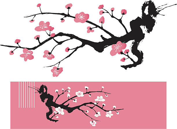 Blossom Tree - Oriental Style Painting Symbol fo Love plum blossom stock illustrations