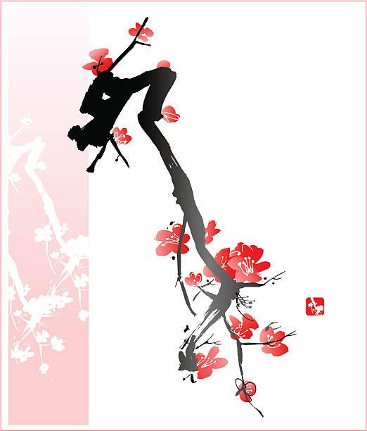 Blossom Tree Oriental Style Painting, vectorized plum blossom stock illustrations
