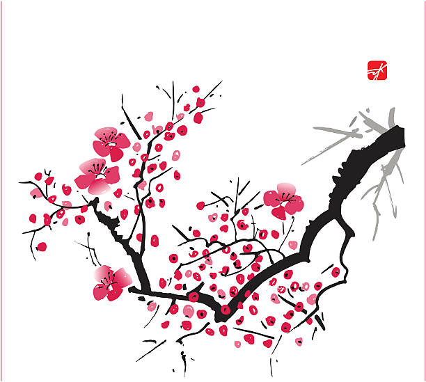 Blossom oriental style painting, cherry blossom in spring plum blossom stock illustrations